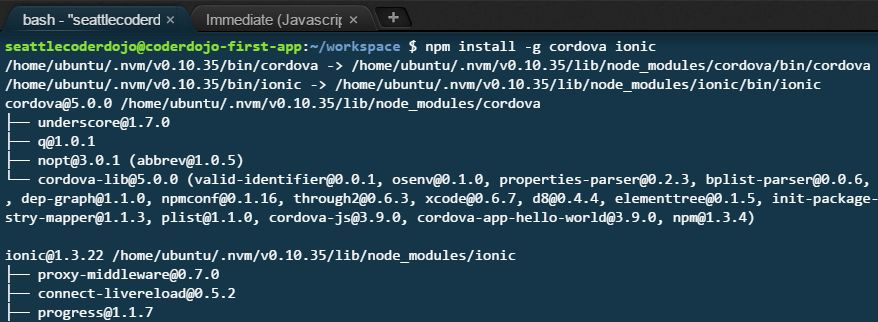 installing cordova and ionic via the terminal