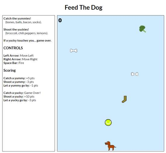 Feed The Dog game screen capture